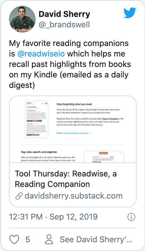 My favorite reading companions is @readwiseio which helps me recall past highlights from books on my Kindle (emailed as a daily digest)