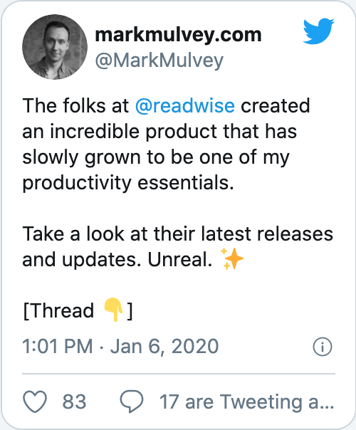 The folks at @readwise created an incredible product that has slowly grown to be one of my productivity essentials.   Take a look at their latest releases and updates. Unreal. ✨  [Thread 👇]